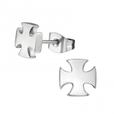 Cross - 316L Surgical Grade Stainless Steel Steel Ear Studs A4S1809