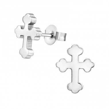 Cross - 316L Surgical Grade Stainless Steel Steel Ear Studs A4S1811