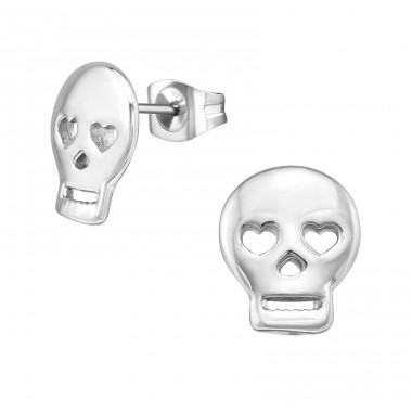 Skull - 316L Surgical Grade Stainless Steel Steel Ear Studs A4S18492