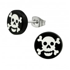 White Pirate Skull - Plastic + 316L Surgical Grade Stainless Steel Steel Ear Studs A4S2225