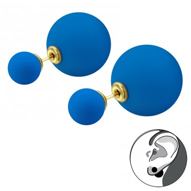 Double Ball - 316L Surgical Grade Stainless Steel Steel Ear Studs A4S28326