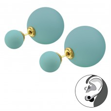 Double Ball - 316L Surgical Grade Stainless Steel Steel Ear Studs A4S28327