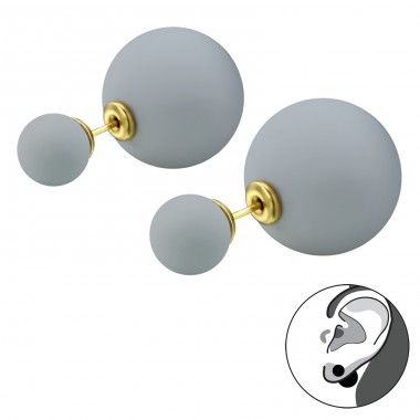 Double Ball - 316L Surgical Grade Stainless Steel Steel Ear Studs A4S28328