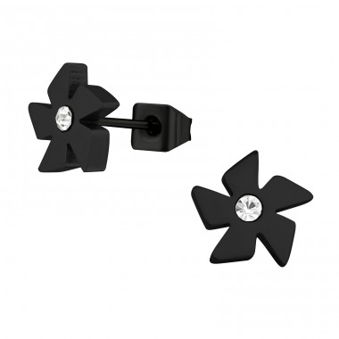 Throwing Star - 316L Surgical Grade Stainless Steel Steel Ear Studs A4S28774