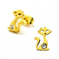 Cat - 316L Surgical Grade Stainless Steel Steel Ear Studs A4S28781