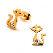 Cat - 316L Surgical Grade Stainless Steel Steel Ear Studs A4S28782