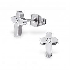 Cross - 316L Surgical Grade Stainless Steel Steel Ear Studs A4S28794