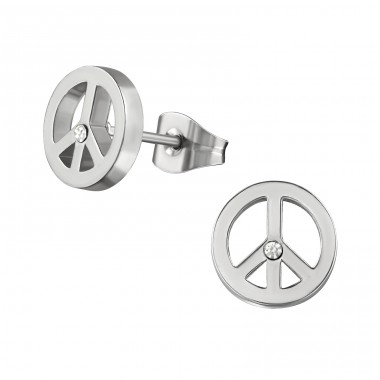 Peace - 316L Surgical Grade Stainless Steel Steel Ear Studs A4S28805