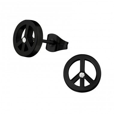 Peace - 316L Surgical Grade Stainless Steel Steel Ear Studs A4S28806