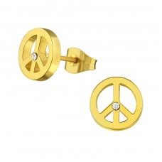 Peace - 316L Surgical Grade Stainless Steel Steel Ear Studs A4S28807