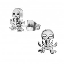 Skull - 316L Surgical Grade Stainless Steel Steel Ear Studs A4S28836