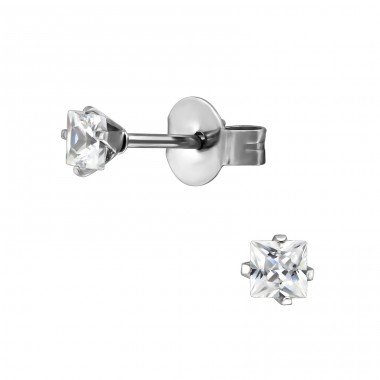 Square - 316L Surgical Grade Stainless Steel Steel Ear Studs A4S29154