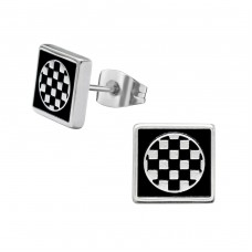 Checker - 316L Surgical Grade Stainless Steel Steel Ear Studs A4S29321