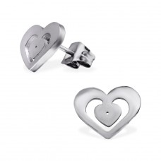 Heart - 316L Surgical Grade Stainless Steel Steel Ear Studs A4S29741