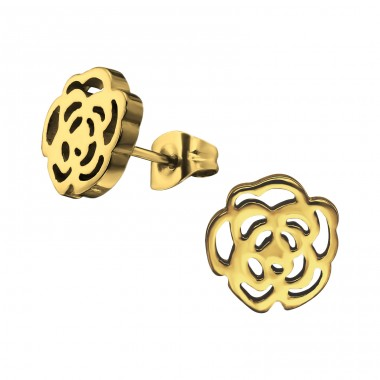 Rose - 316L Surgical Grade Stainless Steel Steel Ear Studs A4S29773