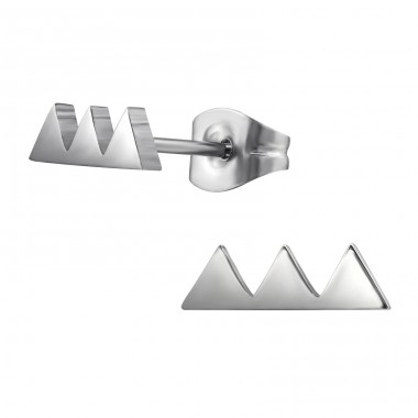 Triple Triangle - 316L Surgical Grade Stainless Steel Steel Ear Studs A4S29808