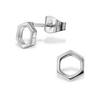 Hexagon - 316L Surgical Grade Stainless Steel Steel Ear Studs A4S29812