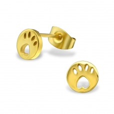 Paw Print - 316L Surgical Grade Stainless Steel Steel Ear Studs A4S29815