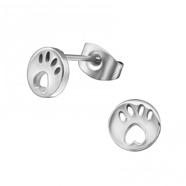 Paw Print - 316L Surgical Grade Stainless Steel Steel Ear Studs A4S29816