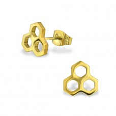 Honeycomb - 316L Surgical Grade Stainless Steel Steel Ear Studs A4S29829