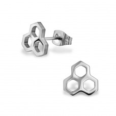 Honeycomb - 316L Surgical Grade Stainless Steel Steel Ear Studs A4S29830
