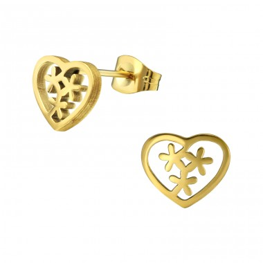 Heart - 316L Surgical Grade Stainless Steel Steel Ear Studs A4S29831