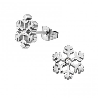 Snowflake - 316L Surgical Grade Stainless Steel Steel Ear Studs A4S30179