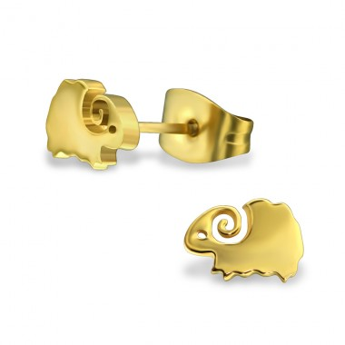 Ram - 316L Surgical Grade Stainless Steel Steel Ear Studs A4S30189