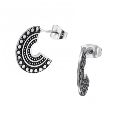 Bali Curve - 316L Surgical Grade Stainless Steel Steel Ear Studs A4S31640