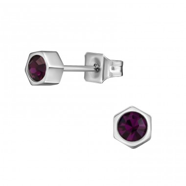 Hexagonal - Crystal + 316L Surgical Grade Stainless Steel Steel Ear Studs A4S31645
