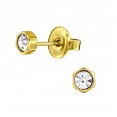 Hexagonal - 316L Surgical Grade Stainless Steel + Crystal Steel Ear Studs A4S31646