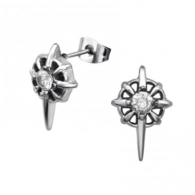 Gothic - Cubic Zirconia + 316L Surgical Grade Stainless Steel Steel Ear Studs A4S31649