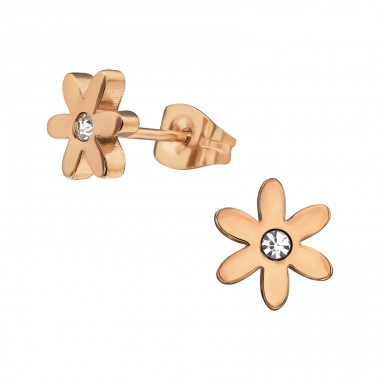 Flower - Crystal + 316L Surgical Grade Stainless Steel Steel Ear Studs A4S31729