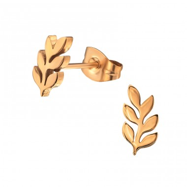 Leaf - 316L Surgical Grade Stainless Steel Steel Ear Studs A4S31733