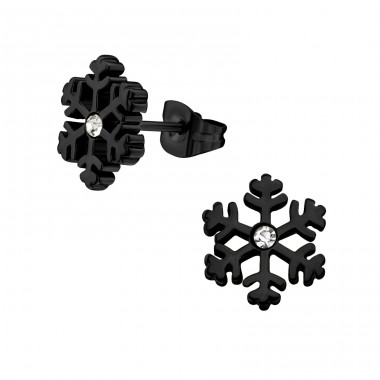 Snowflake - 316L Surgical Grade Stainless Steel + Crystal Steel Ear Studs A4S32371
