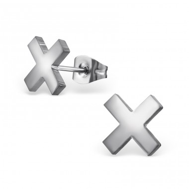 Cross - 316L Surgical Grade Stainless Steel Steel Ear Studs A4S32623