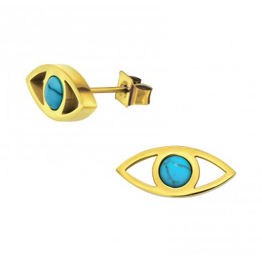 Evil Eye - 316L Surgical Grade Stainless Steel Steel Ear Studs A4S32627