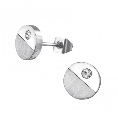 Disc - 316L Surgical Grade Stainless Steel + Crystal Steel Ear Studs A4S32646