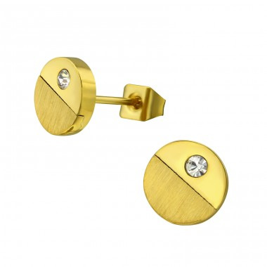 Disc - 316L Surgical Grade Stainless Steel + Crystal Steel Ear Studs A4S32647