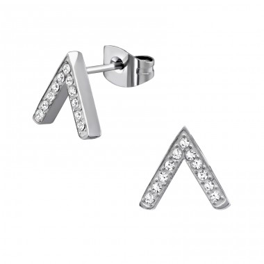 Geometric - 316L Surgical Grade Stainless Steel + Crystal Steel Ear Studs A4S34176