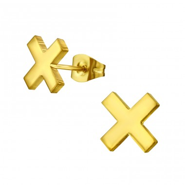 Cross - 316L Surgical Grade Stainless Steel Steel Ear Studs A4S34178