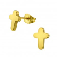 Cross - 316L Surgical Grade Stainless Steel Steel Ear Studs A4S34270