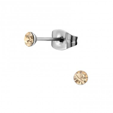 Surgical Steel Round 3mm Ear Studs With Crystal - 316L Surgical Grade Stainless Steel + Crystal Steel Ear Studs A4S34472