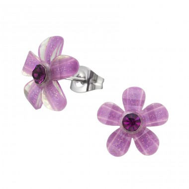 Surgical Steel Flower Ear Studs With Crystals - 316L Surgical Grade Stainless Steel Steel Ear Studs A4S34473