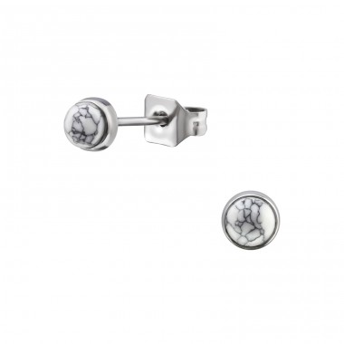 Surgical Steel Round 4mm Ear Studs With Semi Precious - 316L Surgical Grade Stainless Steel Steel Ear Studs A4S34475