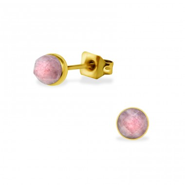 Gold Surgical Steel Round 5mm Ear Studs With Semi Precious - 316L Surgical Grade Stainless Steel Steel Ear Studs A4S34476