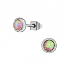 Surgical Steel Round 5mm Ear Studs With Synthetic Opal - 316L Surgical Grade Stainless Steel Steel Ear Studs A4S34479