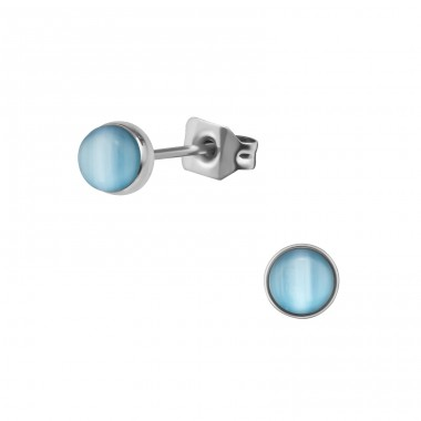 Surgical Steel Round 5mm Ear Studs With Cat Eye - 316L Surgical Grade Stainless Steel Steel Ear Studs A4S34480