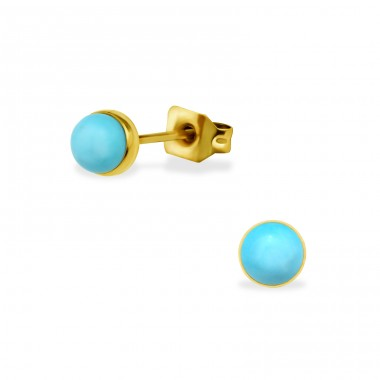 Gold Surgical Steel Round 5mm Ear Studs With Semi Precious - 316L Surgical Grade Stainless Steel Steel Ear Studs A4S34481