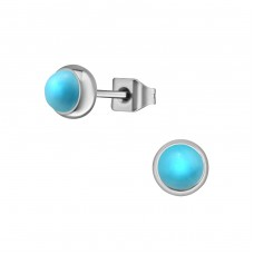 Surgical Steel Round 5mm Ear Studs With Semi Precious - 316L Surgical Grade Stainless Steel Steel Ear Studs A4S34482